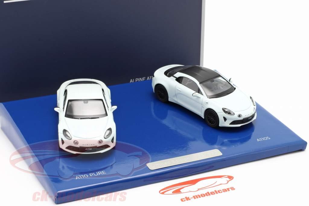 2-Car Set Alpine A110 Pure & A110S year 2019 white 1:43 Norev