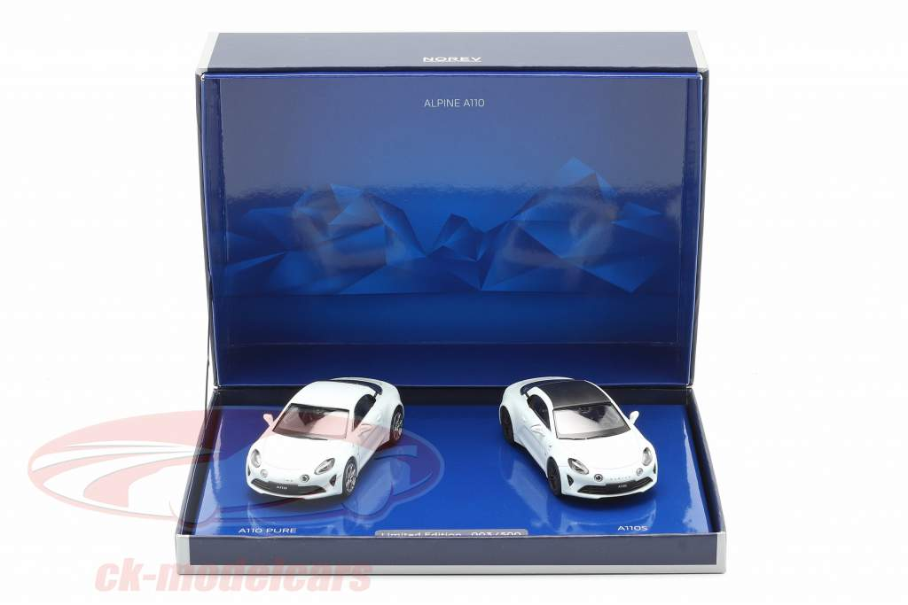 2-Car Set Alpine A110 Pure & A110S Bouwjaar 2019 Wit 1:43 Norev