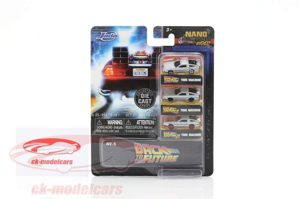 3-Car Set DeLorean Time Machine Back to the Future zilver 1:87 Jada Toys