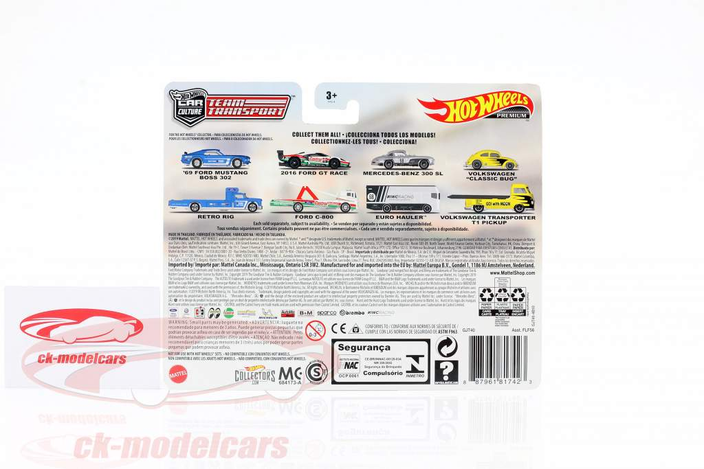 Set Team Transport: Ford GT Race 2016 & Ford C-800 1:64 HotWheels
