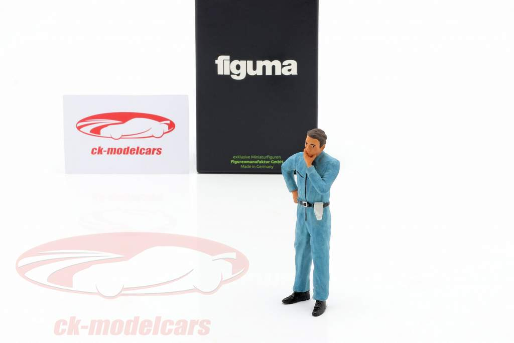 mechanic with blue overall pensive figure 1:18 FigurenManufaktur