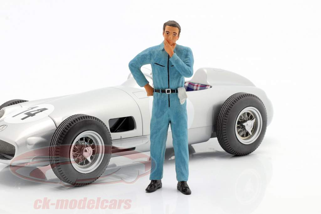 mekaniker med blå overalls tankevækkende figur 1:18 FigurenManufaktur