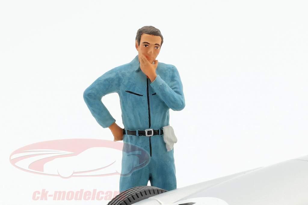 mecânico com azul macacão pensativo figura 1:18 FigurenManufaktur