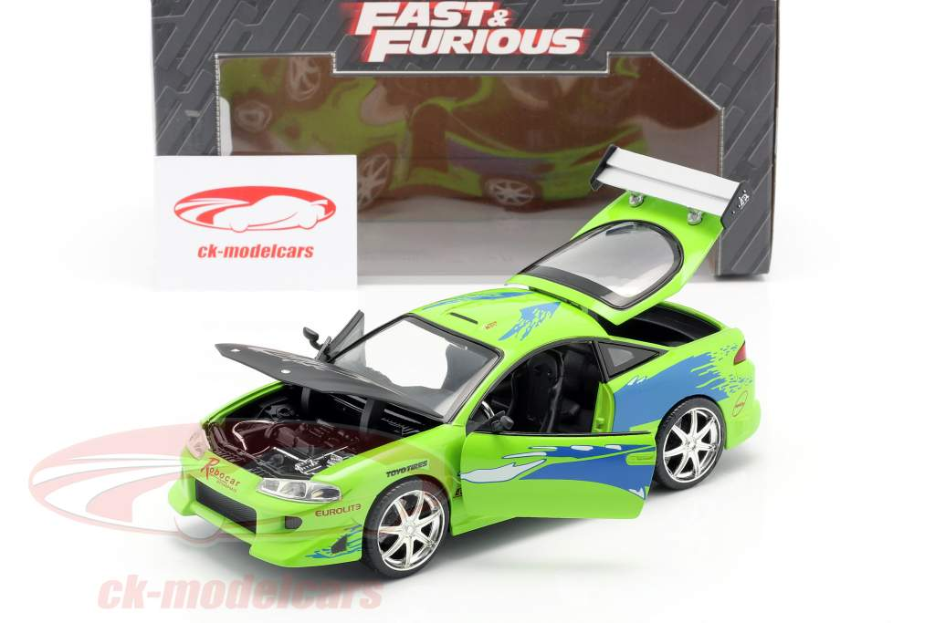 Brian's Mitsubishi Eclipse The Fast and the Furious 2001 grøn 1:24 Jada Toys