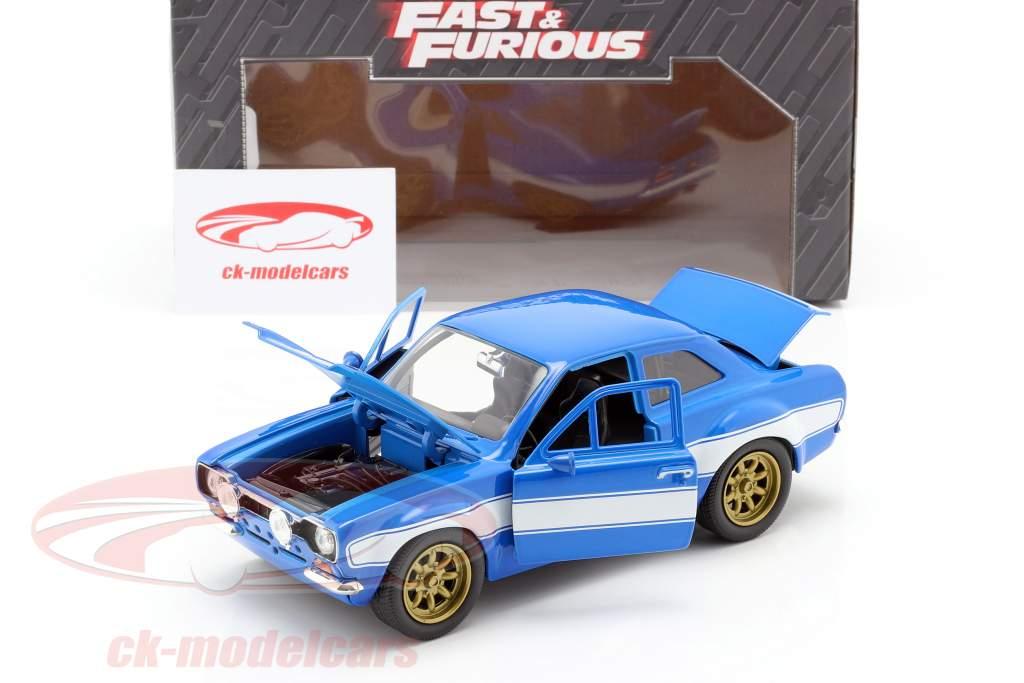 Brian's Ford Escort RS2000 MKI Fast & Furious 6 2013 azul / branco 1:24 Jada Toys