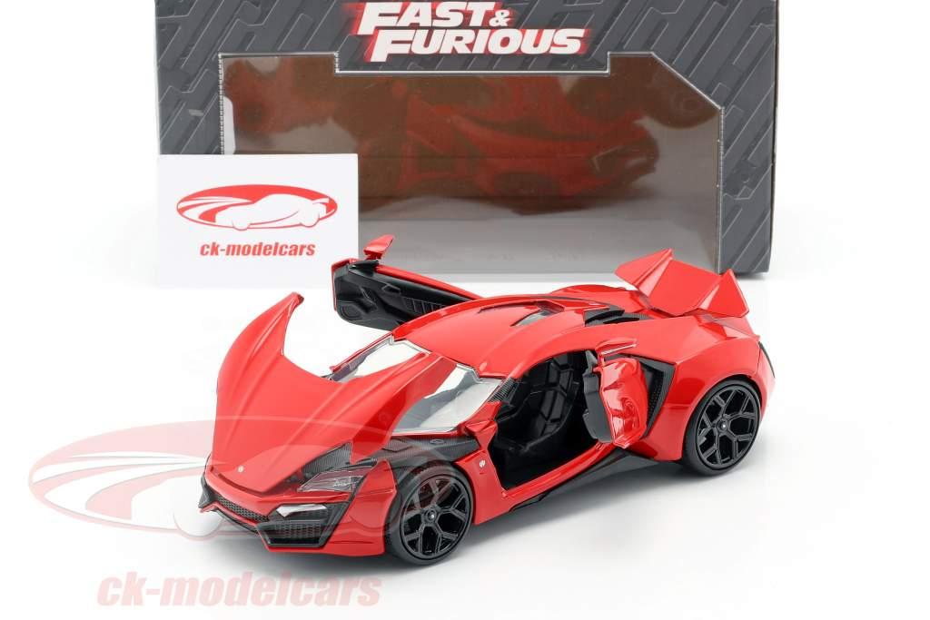 Lykan Hypersport fra den Film Fast og Furious 7 2015 rød 1:24 Jada Toys