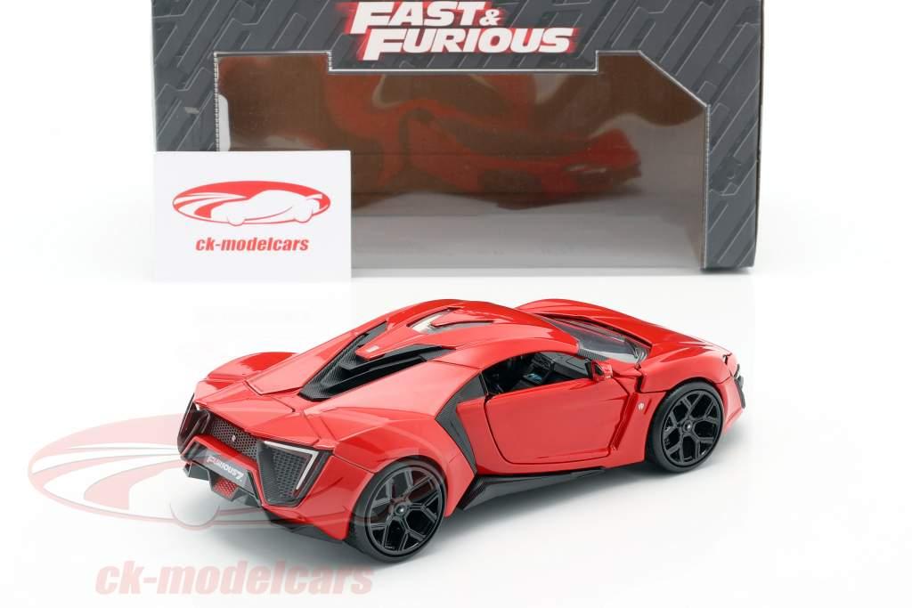 Lykan Hypersport desde la Película Fast y Furibundo 7 2015 rojo 1:24 Jada Toys