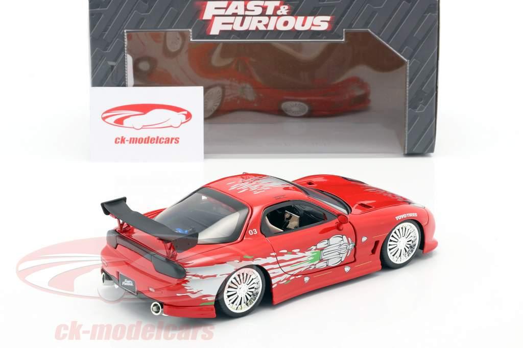 Dom's Mazda RX-7 Fast and Furious vermelho 1:24 Jada Toys