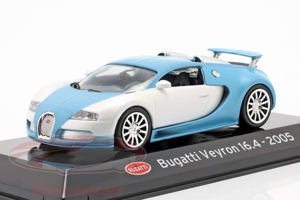 Bugatti Veyron 16.4 Byggeår 2005 mat hvid / Lyseblå 1:43 Altaya