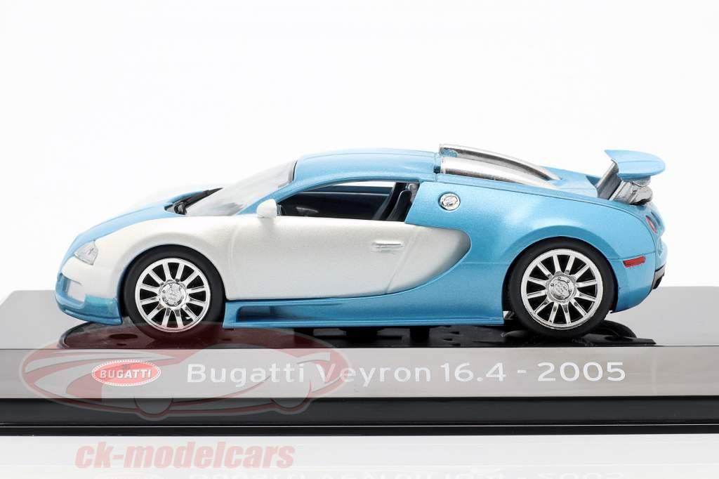 Bugatti Veyron 16.4 Año de construcción 2005 blanco mate / Azul claro 1:43 Altaya