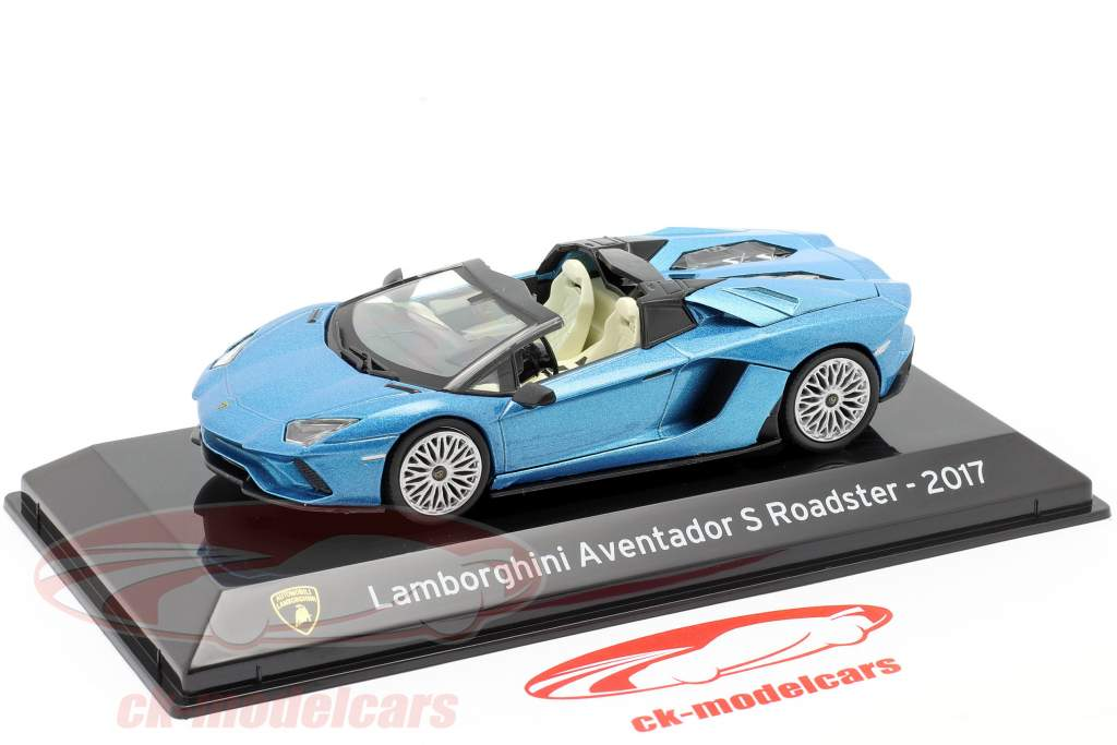 Lamborghini Aventador S Roadster Ano de construção 2017 azul metálico 1:43 Altaya