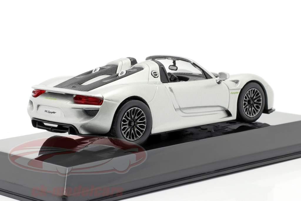 Porsche 918 Spyder bouwjaar 2013 vloeibaar zilver 1:43 Altaya