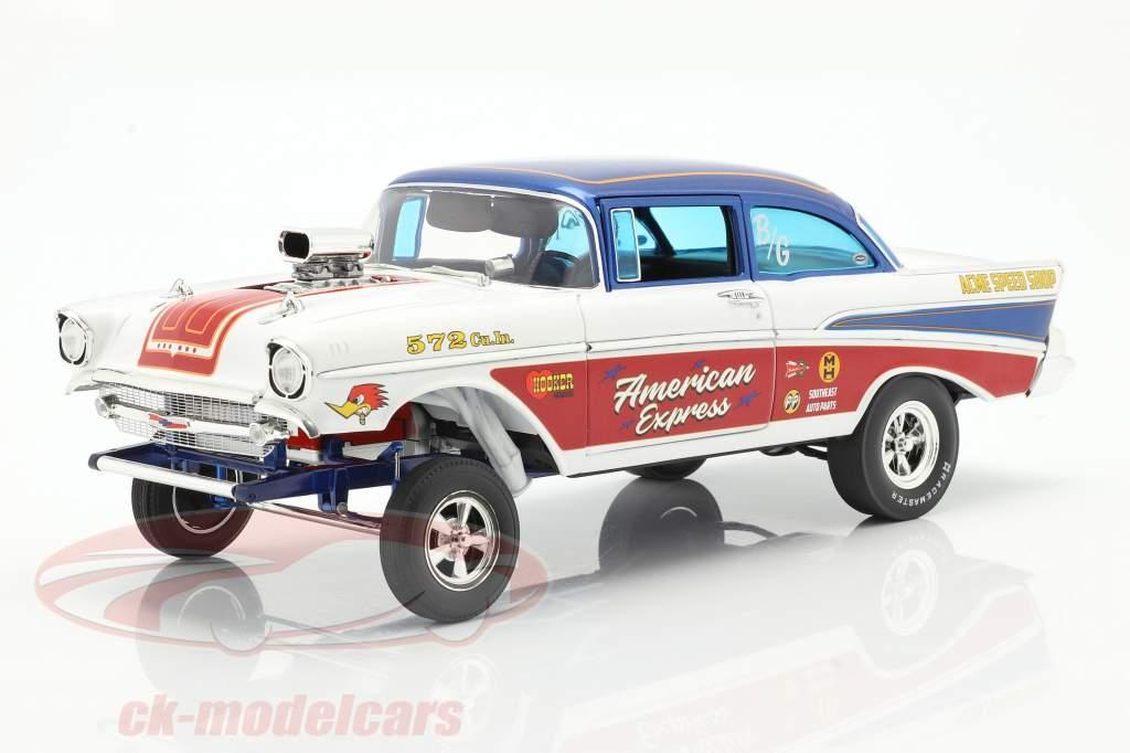 Chevrolet Bel Air Gasser American Express 1957 hvid / rød / blå 1:18 GMP