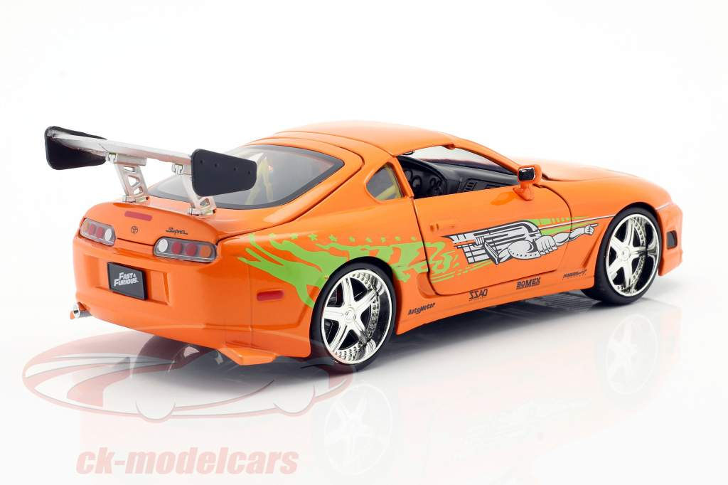 Brian's Toyota Supra Película Fast & Furious 7 (2015) naranja 1:24 Jada Toys