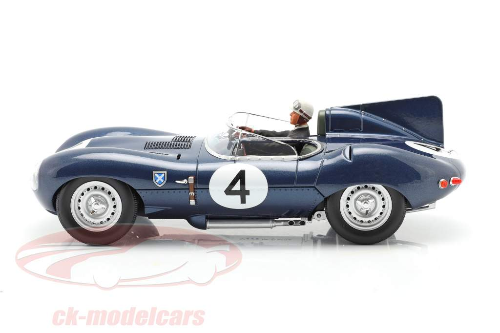 Conjunto: Jaguar D-Type #4 Vencedora 24h LeMans 1956 Com Figura do motorista 1:18 CMR