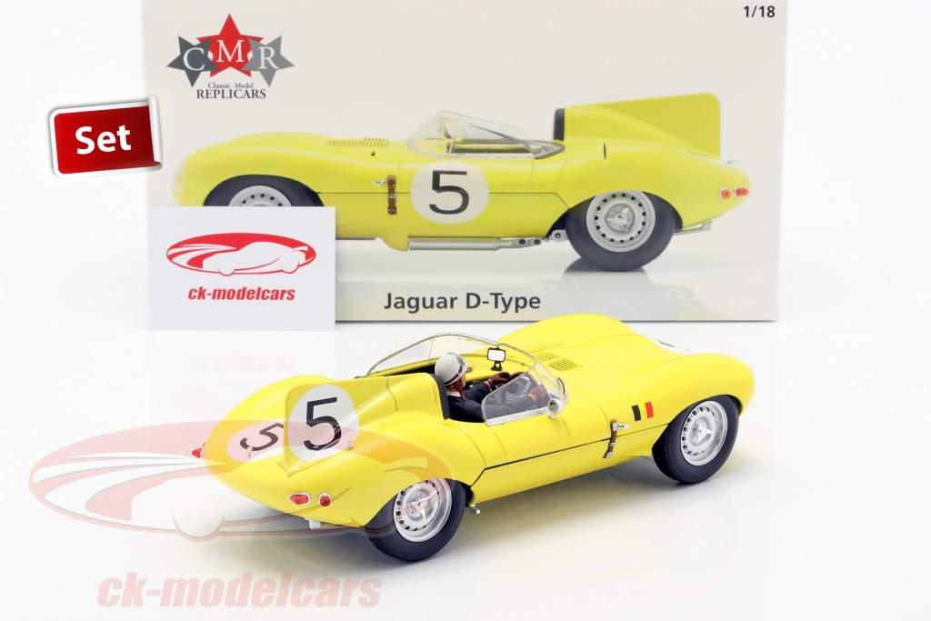 Set: Jaguar D-Type #5 4e 24h LeMans 1956 Met Bestuurdersfiguur 1:18 CMR