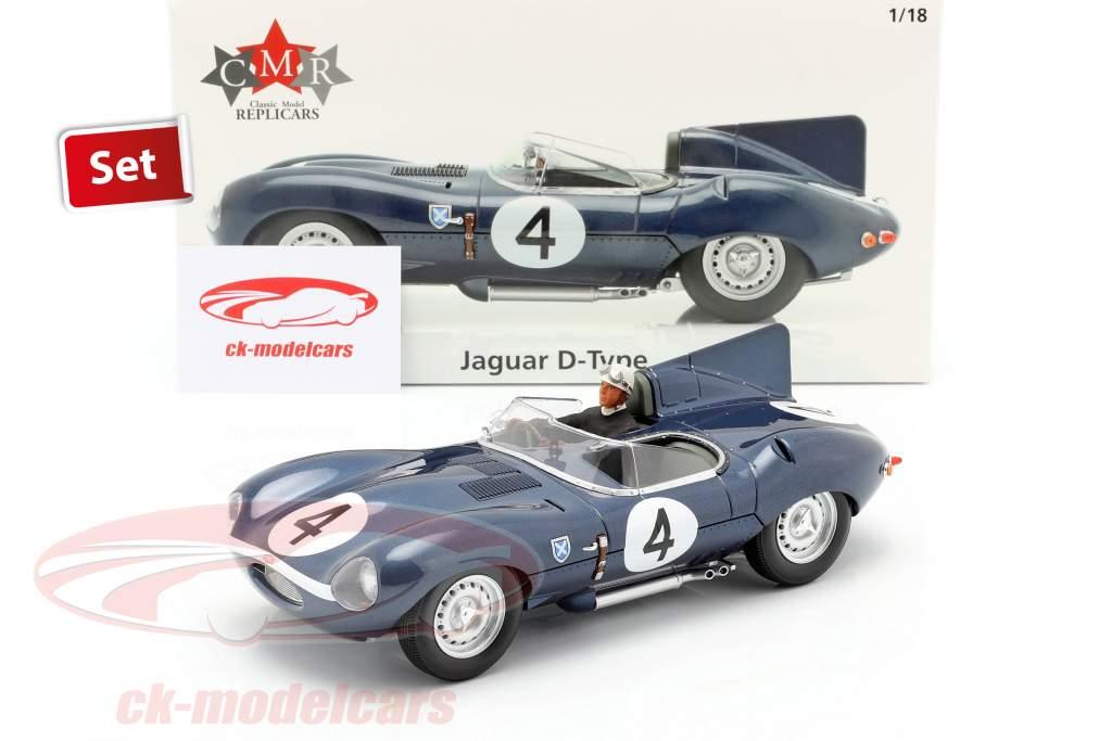 Impostato: Jaguar D-Type #4 Vincitore 24h LeMans 1956 Con Figura del conducente 1:18 CMR