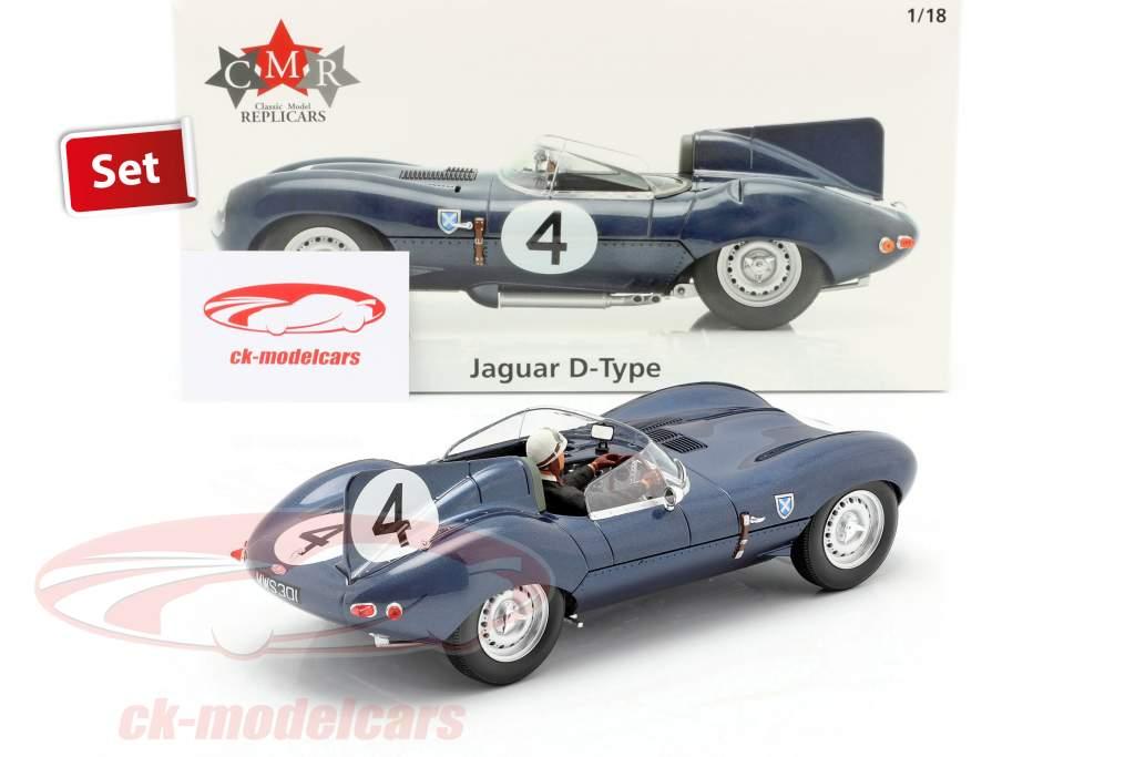 Ensemble: Jaguar D-Type #4 Gagnant 24h LeMans 1956 Avec Figure de conducteur 1:18 CMR