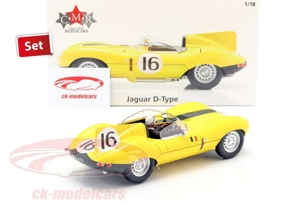 Set: Jaguar D-Type #16 4e 24h LeMans 1957 Met Bestuurdersfiguur 1:18 CMR