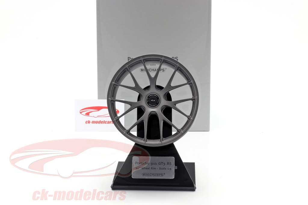 Porsche 911 GT3 RS 2020 Magnesiumfælge 21 inch satin platin 1:5 Minichamps