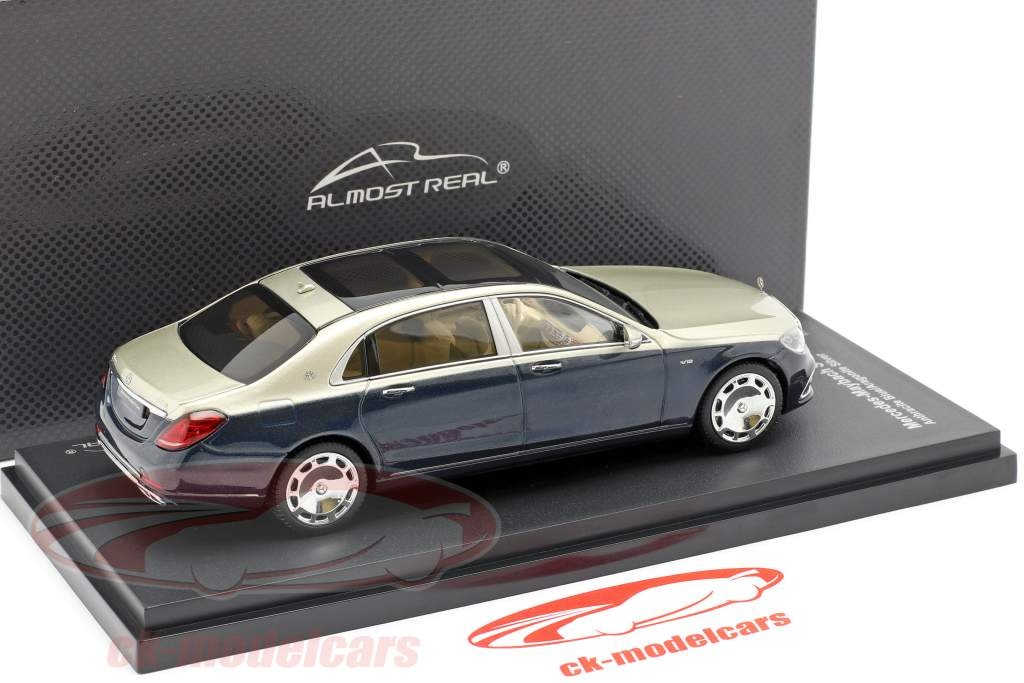 Mercedes-Maybach Clase S 2019 antracita azul / aragonito plata 1:43 Almost Real