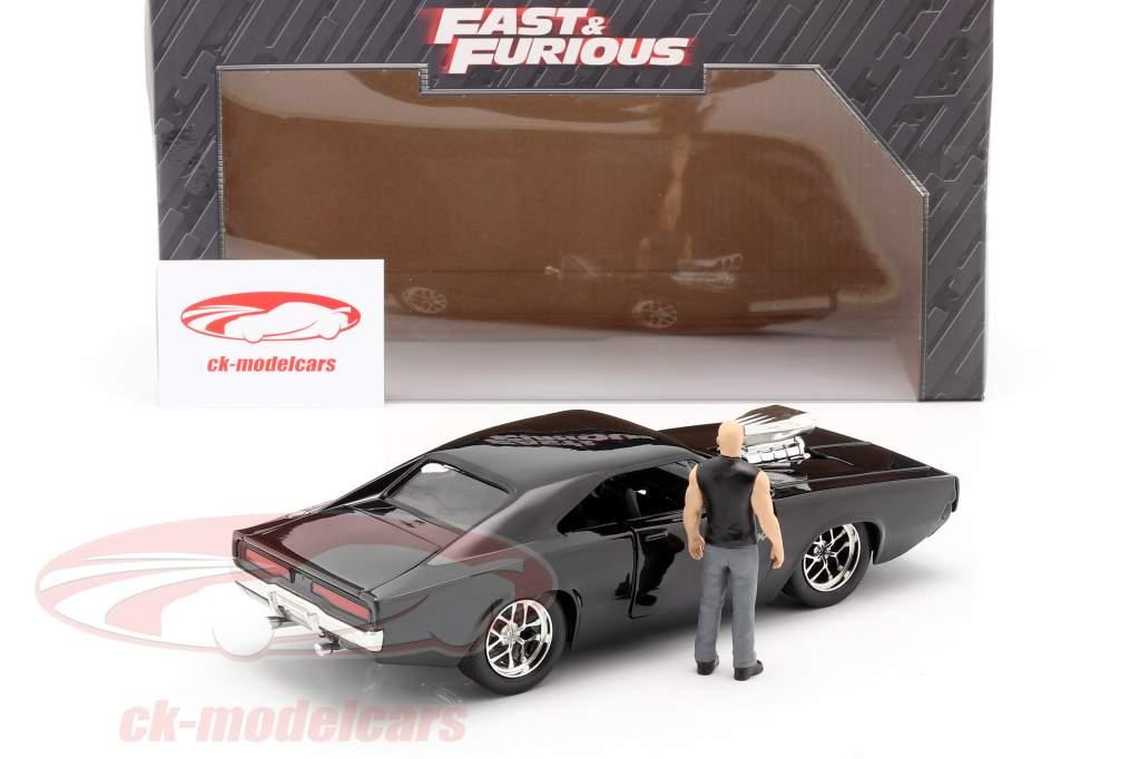 Dom's Dodge Charger R/T 1970 filme Fast & Furious (2001) com figura 1:24 Jada Toys