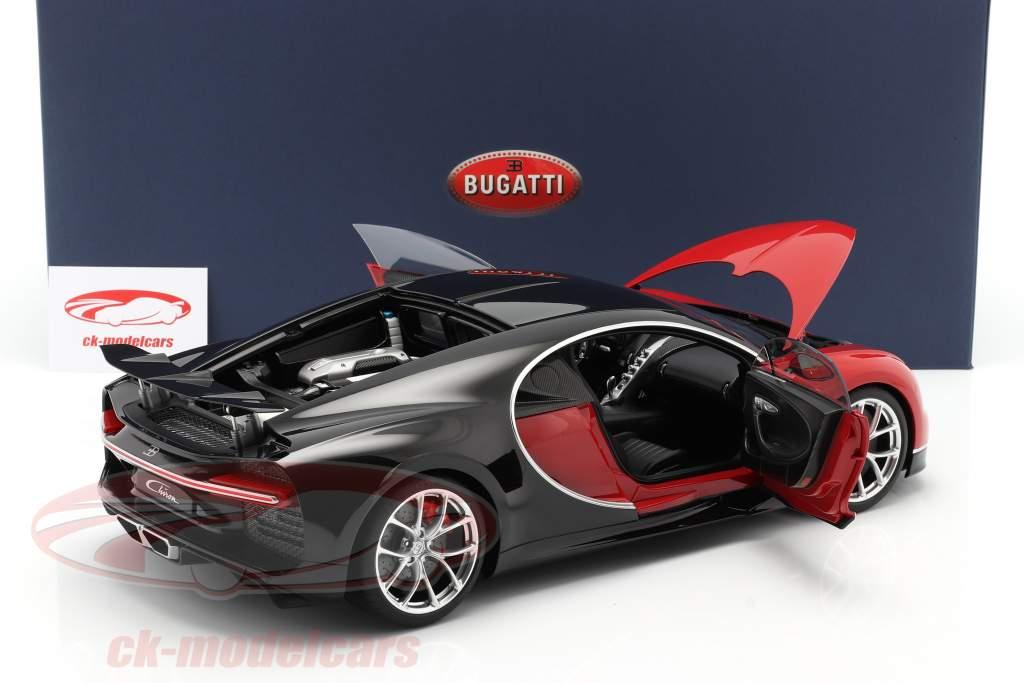 Bugatti Chiron Ano de construção 2017 vermelho / Preto 1:12 AUTOart