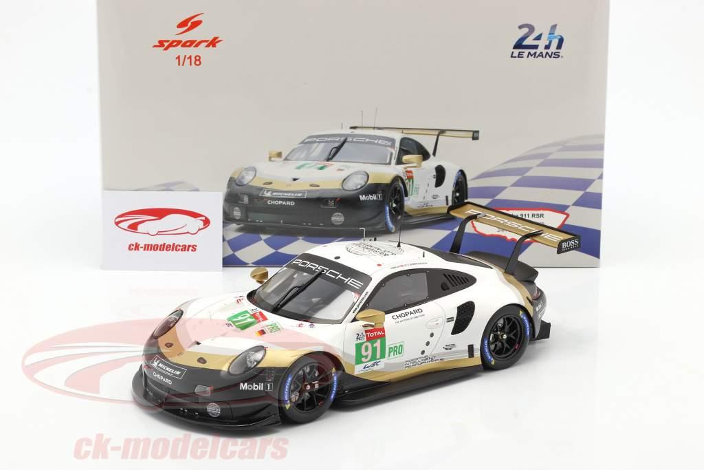Porsche 911 RSR GTE #91 2nd LMGTE Pro 24h LeMans 2019 Porsche GT Team 1:18 Spark