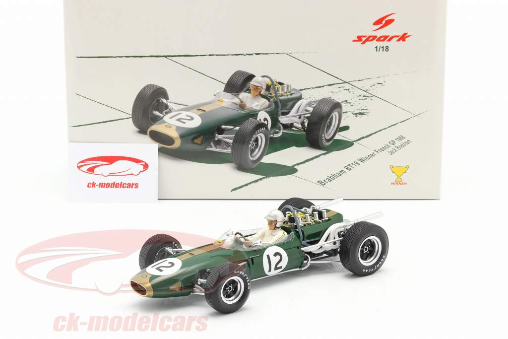 Jack Brabham Brabham BT19 #12 World Champion France GP formula 1 1966 1:18 Spark
