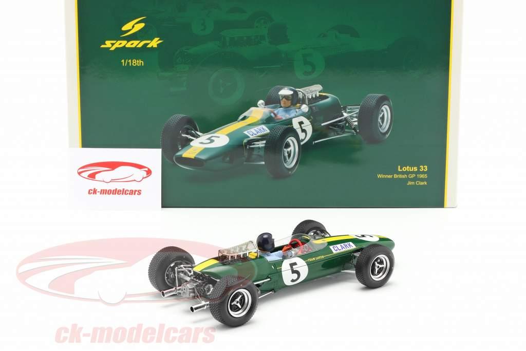 Jim Clark Lotus 33 #5 Campione del mondo Gran Bretagna GP formula 1 1965 1:18 Spark