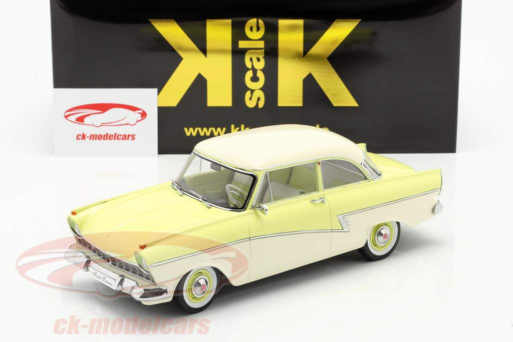 Ford Taunus 17M P2 Byggeår 1957 lysegul / hvid 1:18 KK-Scale