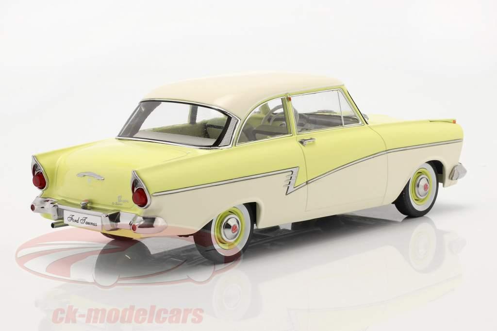 Ford Taunus 17M P2 Bouwjaar 1957 licht geel / Wit 1:18 KK-Scale