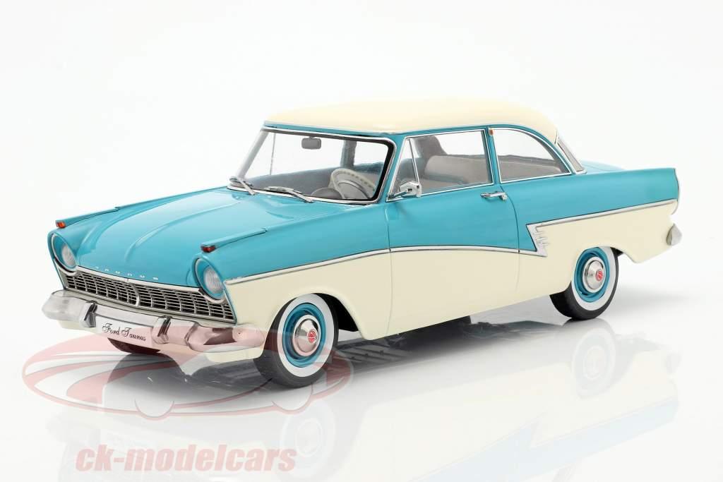 Ford Taunus 17M P2 Année de construction 1957 turquoise / blanc 1:18 KK-Scale