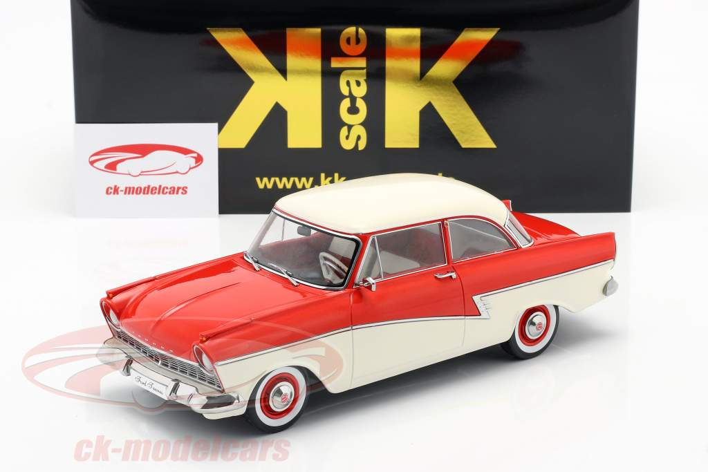 Ford Taunus 17M P2 Byggeår 1957 rød / hvid 1:18 KK-Scale
