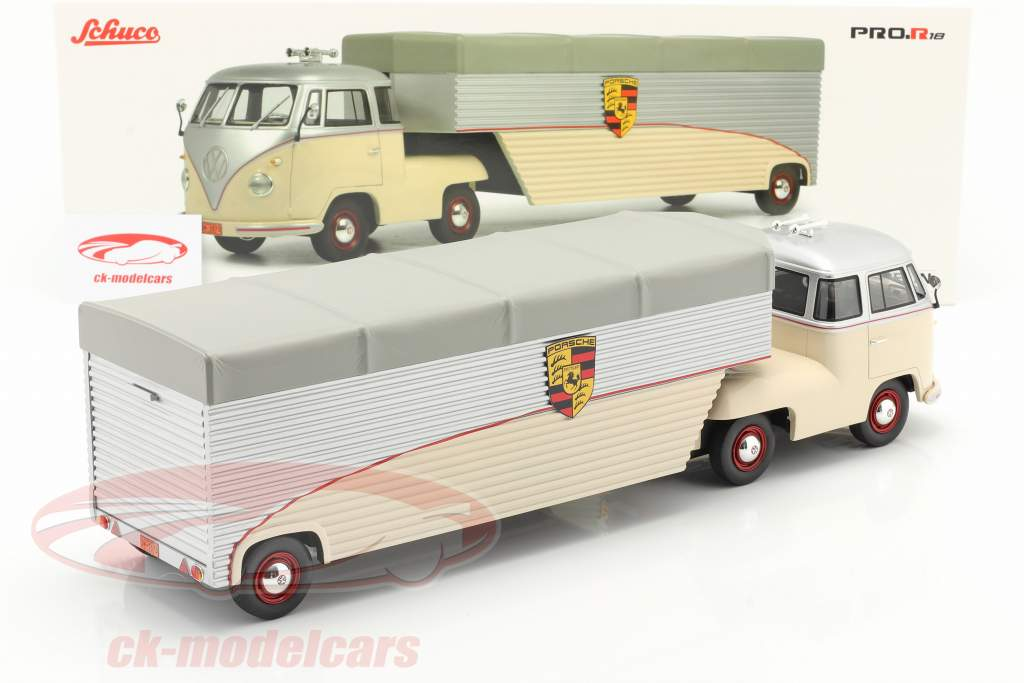 Volkswagen VW T1 Porsche Gara Macchina Trasportatore beige / argento 1:18 Schuco
