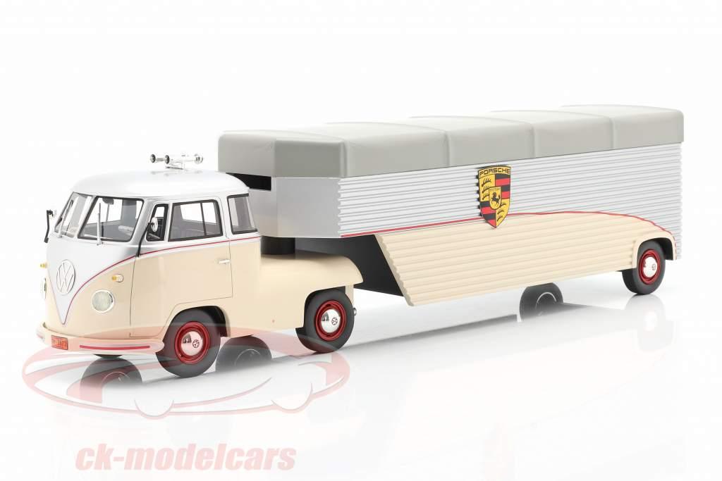 Volkswagen VW T1 Porsche Race Bil Transporter beige / sølv 1:18 Schuco