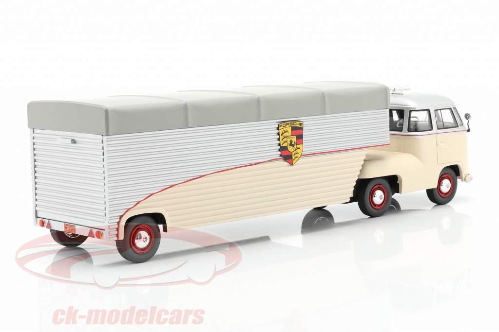 Volkswagen VW T1 Porsche Course Voiture Transporteur beige / argent 1:18 Schuco