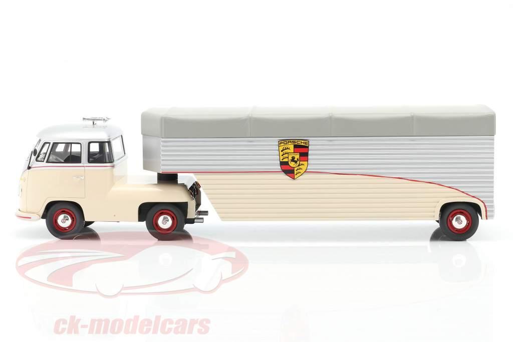 Volkswagen VW T1 Porsche Race Car Transporter beige / silver 1:18 Schuco