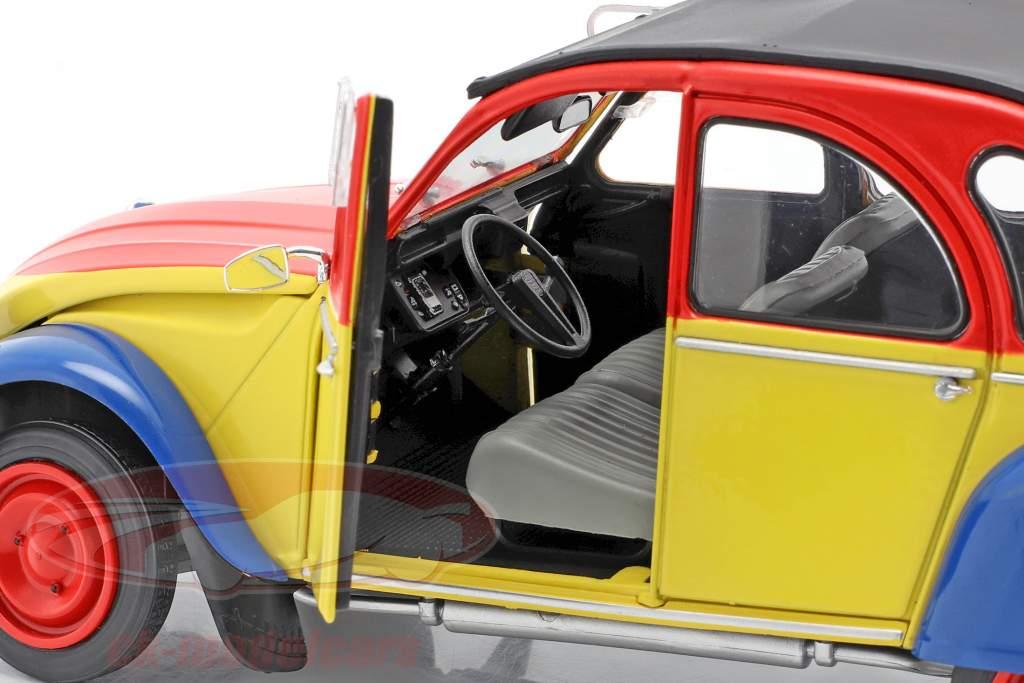 Citroen 2CV6 Ricard Byggeår 1985 gul / rød / blå 1:18 Solido