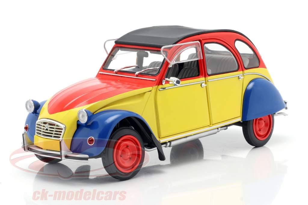 Citroen 2CV6 Ricard year 1985 yellow / red / blue 1:18 Solido