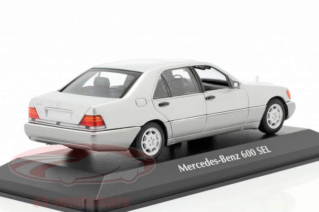 Mercedes-Benz 600 SEL (W140) Ano de construção 1992 prata metálico 1:43 Minichamps