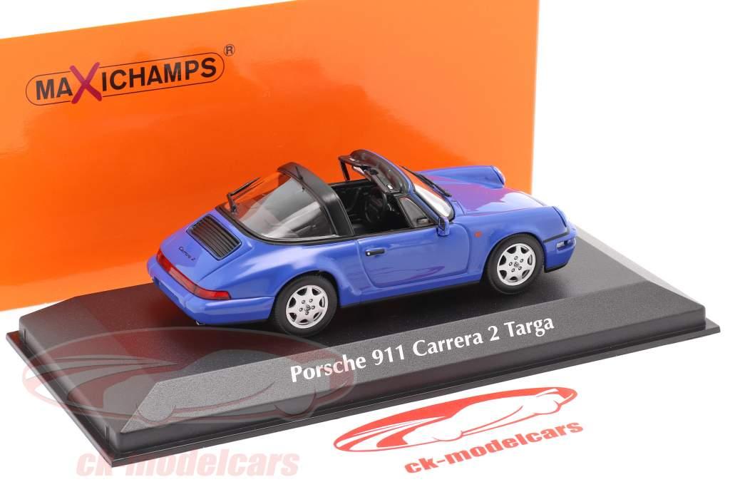 Porsche 911 (964) Carrera 2 Targa 1991 blauw 1:43 Minichamps