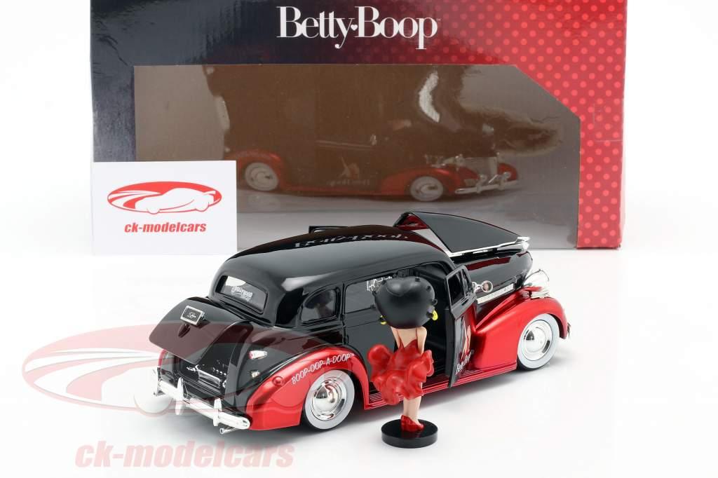 Chevrolet Master Deluxe 1939 Avec figure Betty Boop noir / rouge 1:24 Jada Toys