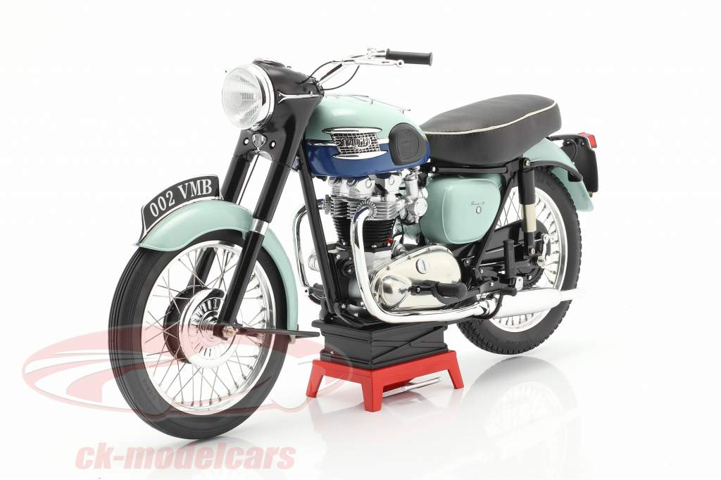 Triumph Bonneville T120 Blue Tank Año de construcción 1959 Azul claro 1:6 Vintage Motor Brands