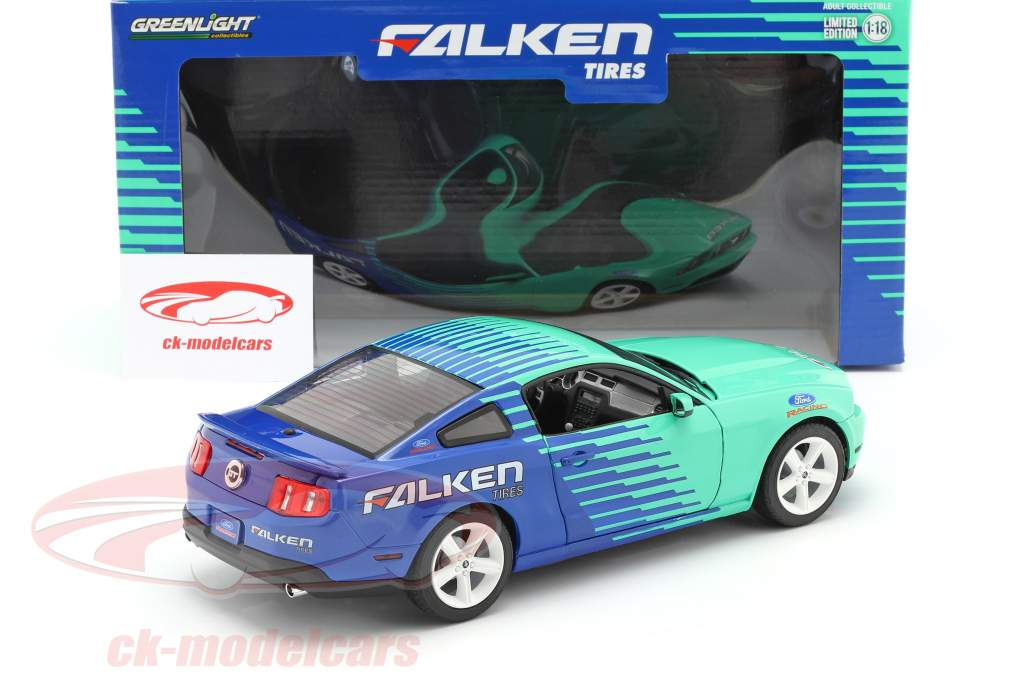 Ford Mustang GT Falken Tires 2010 blau / grün 1:18 Greenlight