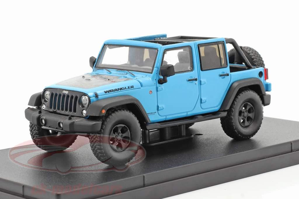 Jeep Wrangler Unlimited Big Bear Año de construcción 2017 azul 1:43 Greenlight