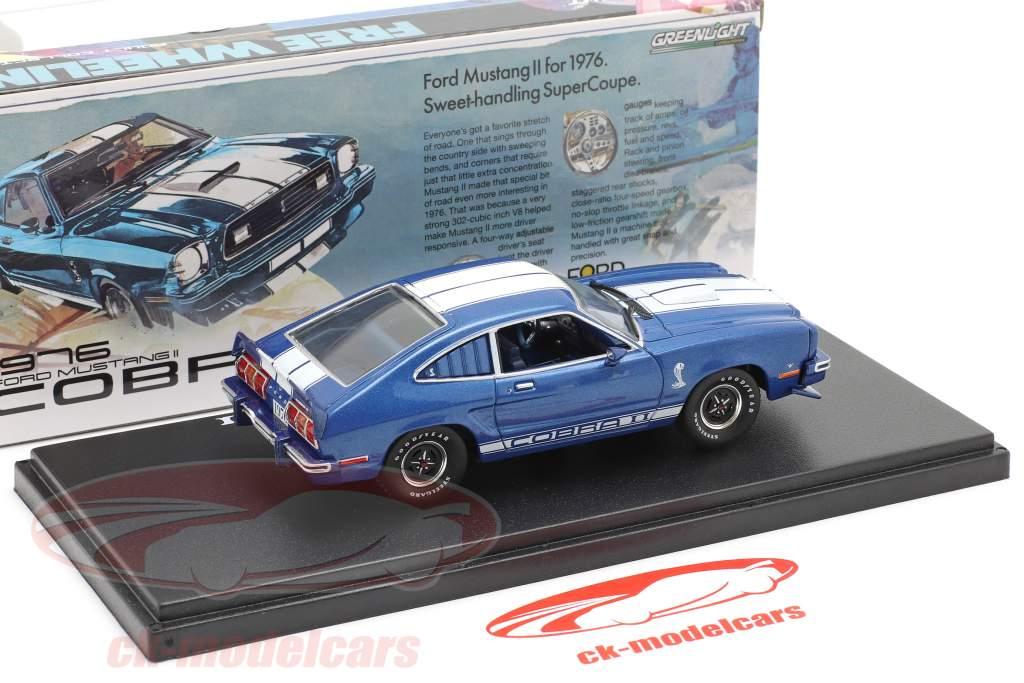 Ford Mustang II Cobra II Ano de construção 1976 azul / Branco 1:43 Greenlight