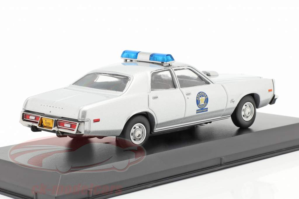 Plymouth Fury Arkansas Sheriff 1975 Smokey and the Bandit (1977) sølv 1:43 Greenlight