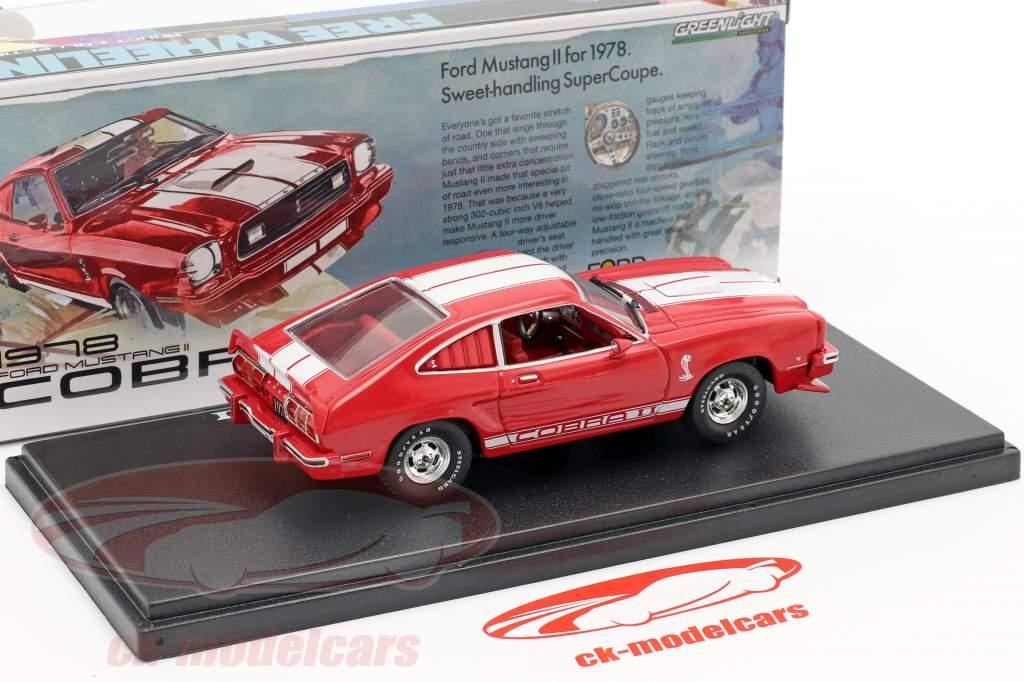 Ford Mustang II Cobra II Ano de construção 1976 vermelho / Branco 1:43 Greenlight