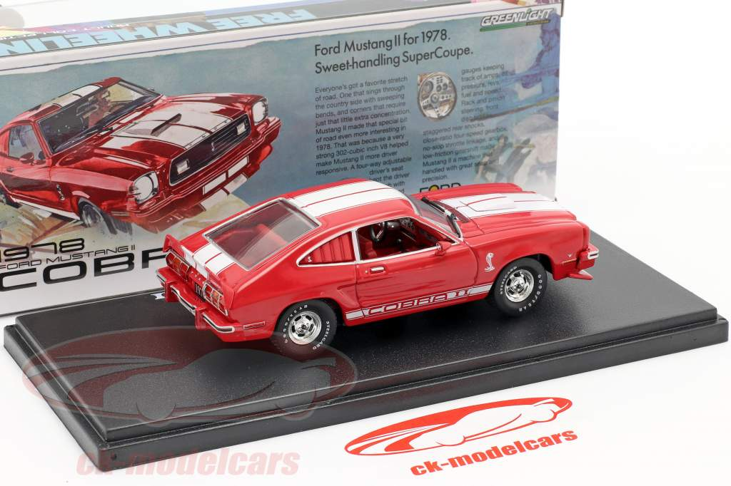 Ford Mustang II Cobra II year 1976 red / white 1:43 Greenlight